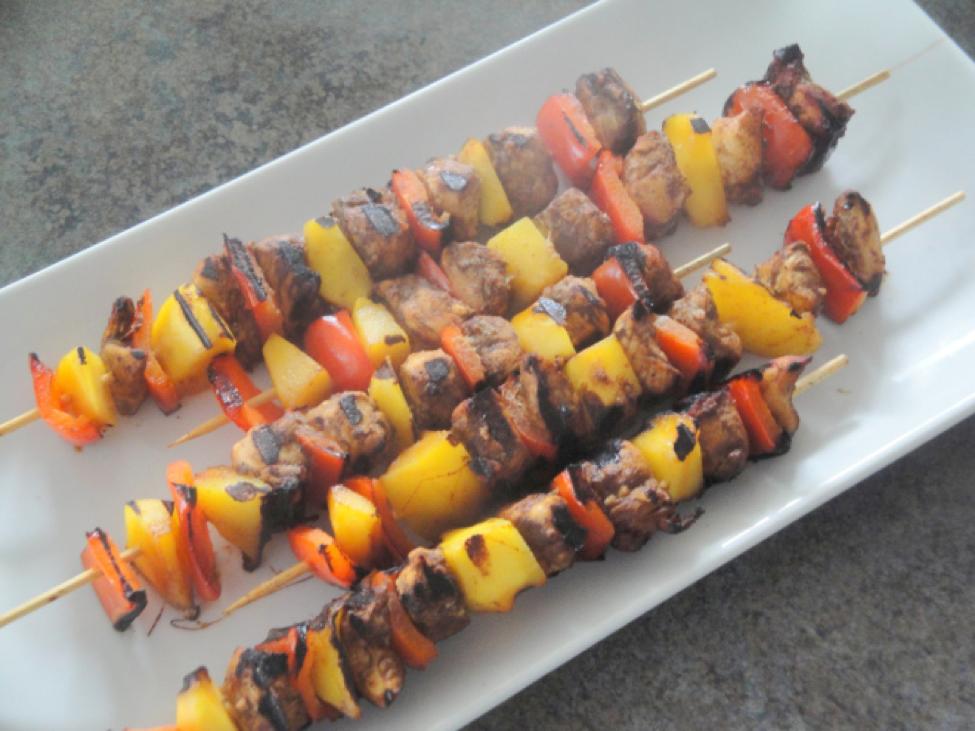 Pickapeppa Chicken and Mango Kebabs